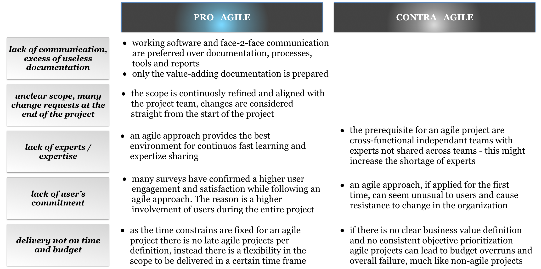 Pro's and con's of an agile approach in the context of SAP projects_Agilon GmbH
